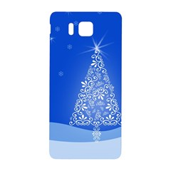Blue White Christmas Tree Samsung Galaxy Alpha Hardshell Back Case by yoursparklingshop