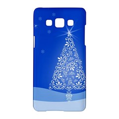 Blue White Christmas Tree Samsung Galaxy A5 Hardshell Case  by yoursparklingshop