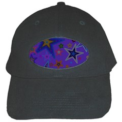 Purple Christmas Party Stars Black Cap by yoursparklingshop
