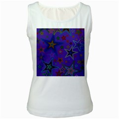Purple Christmas Party Stars Women s White Tank Top by yoursparklingshop