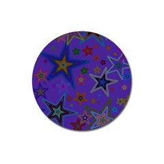 Purple Christmas Party Stars Magnet 3  (round) by yoursparklingshop