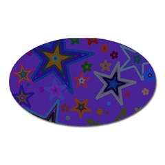 Purple Christmas Party Stars Oval Magnet by yoursparklingshop