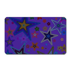 Purple Christmas Party Stars Magnet (rectangular) by yoursparklingshop