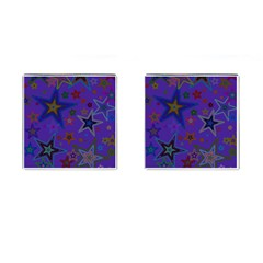 Purple Christmas Party Stars Cufflinks (square) by yoursparklingshop