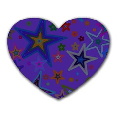 Purple Christmas Party Stars Heart Mousepads by yoursparklingshop