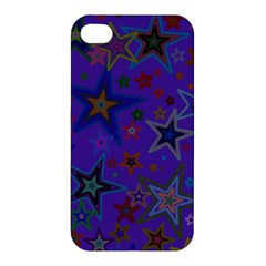 Purple Christmas Party Stars Apple Iphone 4/4s Premium Hardshell Case by yoursparklingshop