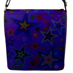 Purple Christmas Party Stars Flap Messenger Bag (s) by yoursparklingshop