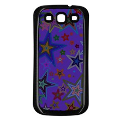 Purple Christmas Party Stars Samsung Galaxy S3 Back Case (black) by yoursparklingshop
