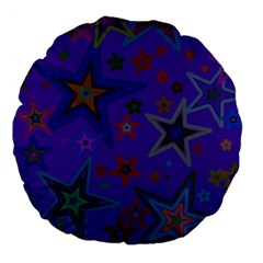 Purple Christmas Party Stars Large 18  Premium Flano Round Cushions by yoursparklingshop