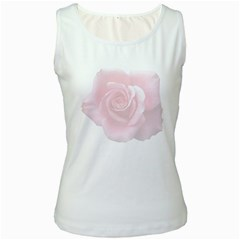 Pink White Love Rose Women s White Tank Top by yoursparklingshop
