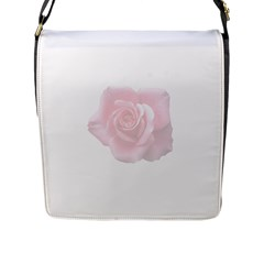 Pink White Love Rose Flap Messenger Bag (l)  by yoursparklingshop
