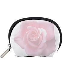 Pink White Love Rose Accessory Pouches (small)  by yoursparklingshop