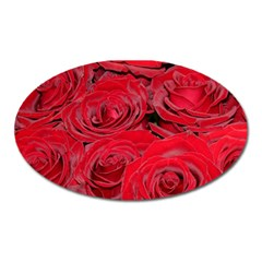 Red Love Roses Oval Magnet by yoursparklingshop