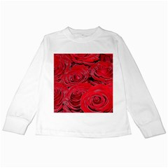 Red Love Roses Kids Long Sleeve T Shirts by yoursparklingshop