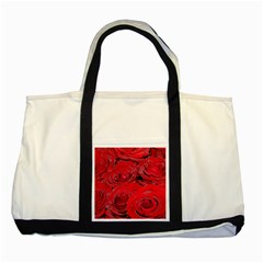 Red Love Roses Two Tone Tote Bag by yoursparklingshop