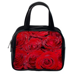 Red Love Roses Classic Handbags (one Side) by yoursparklingshop