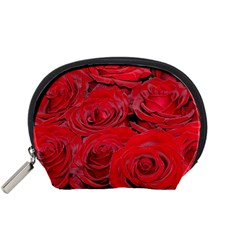 Red Love Roses Accessory Pouches (small)  by yoursparklingshop
