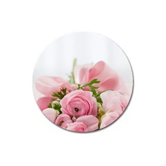 Romantic Pink Flowers Magnet 3  (round) by yoursparklingshop
