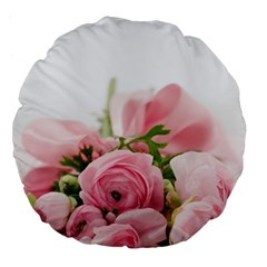 Romantic Pink Flowers Large 18  Premium Flano Round Cushions by yoursparklingshop