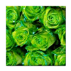 Festive Green Glitter Roses Valentine Love  Tile Coasters by yoursparklingshop