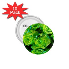 Festive Green Glitter Roses Valentine Love  1 75  Buttons (10 Pack) by yoursparklingshop