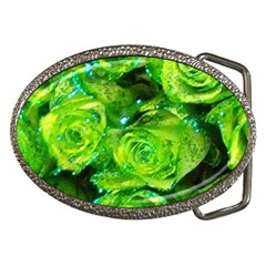 Festive Green Glitter Roses Valentine Love  Belt Buckles by yoursparklingshop