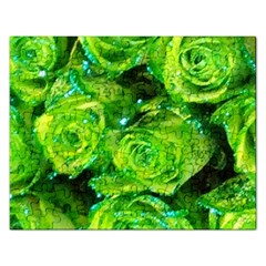 Festive Green Glitter Roses Valentine Love  Rectangular Jigsaw Puzzl by yoursparklingshop