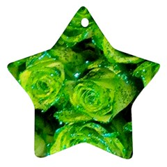 Festive Green Glitter Roses Valentine Love  Star Ornament (two Sides)  by yoursparklingshop