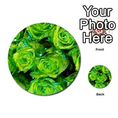 Festive Green Glitter Roses Valentine Love  Multi Purpose Cards (round)  by yoursparklingshop