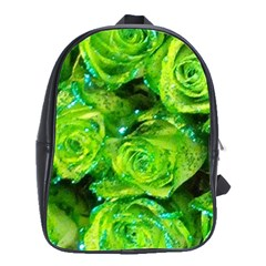 Festive Green Glitter Roses Valentine Love  School Bags(large)  by yoursparklingshop