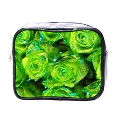 Festive Green Glitter Roses Valentine Love  Mini Toiletries Bags by yoursparklingshop