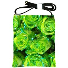Festive Green Glitter Roses Valentine Love  Shoulder Sling Bags by yoursparklingshop