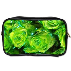Festive Green Glitter Roses Valentine Love  Toiletries Bags by yoursparklingshop
