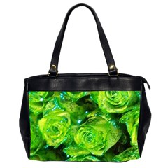 Festive Green Glitter Roses Valentine Love  Office Handbags (2 Sides)  by yoursparklingshop