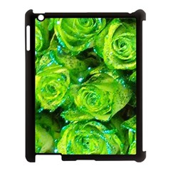 Festive Green Glitter Roses Valentine Love  Apple Ipad 3/4 Case (black) by yoursparklingshop