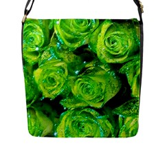 Festive Green Glitter Roses Valentine Love  Flap Messenger Bag (l)  by yoursparklingshop