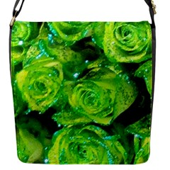 Festive Green Glitter Roses Valentine Love  Flap Messenger Bag (s) by yoursparklingshop