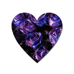 Purple Glitter Roses Valentine Love Heart Magnet by yoursparklingshop