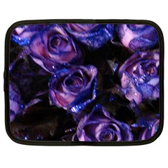 Purple Glitter Roses Valentine Love Netbook Case (large) by yoursparklingshop