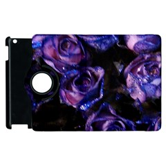 Purple Glitter Roses Valentine Love Apple Ipad 2 Flip 360 Case by yoursparklingshop