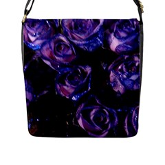 Purple Glitter Roses Valentine Love Flap Messenger Bag (l)  by yoursparklingshop
