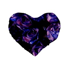 Purple Glitter Roses Valentine Love Standard 16  Premium Flano Heart Shape Cushions by yoursparklingshop