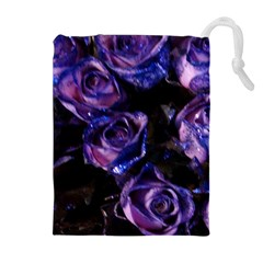 Purple Glitter Roses Valentine Love Drawstring Pouches (extra Large) by yoursparklingshop