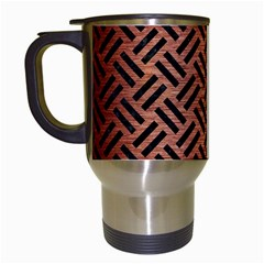 Woven2 Black Marble & Copper Brushed Metal (r) Travel Mug (white) by trendistuff