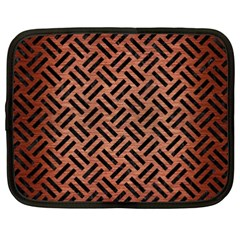 Woven2 Black Marble & Copper Brushed Metal (r) Netbook Case (xxl) by trendistuff