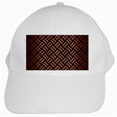 Woven2 Black Marble & Copper Brushed Metal White Cap by trendistuff
