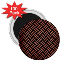 Woven2 Black Marble & Copper Brushed Metal 2 25  Magnet (100 Pack)  by trendistuff
