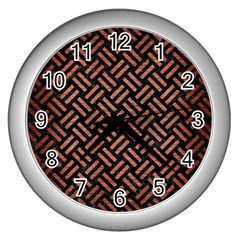 Woven2 Black Marble & Copper Brushed Metal Wall Clock (silver) by trendistuff