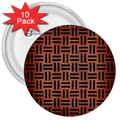 Woven1 Black Marble & Copper Brushed Metal (r) 3  Button (10 Pack) by trendistuff