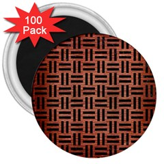 Woven1 Black Marble & Copper Brushed Metal (r) 3  Magnet (100 Pack) by trendistuff